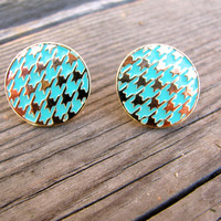 Houndstooth Stud Earrings {Mint}