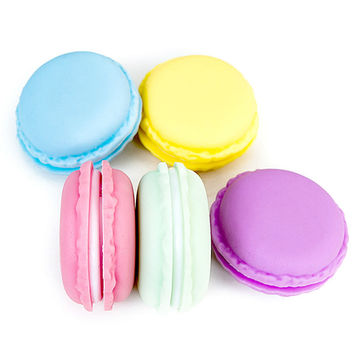 Lovely Cute Sweet Macaroon Cookie Shape Candy Color Mini Pill Jewelry Storage Box Headphone Cable Box FULI