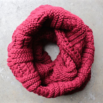 cozy knit infinity scarf in red