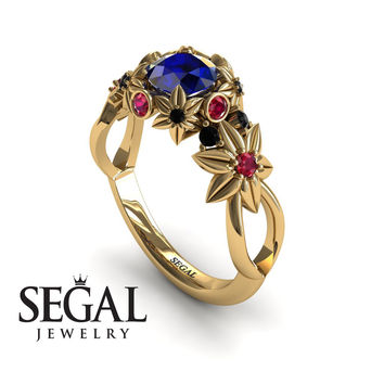 Unique Engagement Ring 14K Yellow Gold Flowers And Branches Art Deco Edwardian Ring Sapphire With Ruby - Katherine