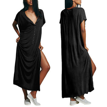 Black Button Down Casual Slit Long Loose Dress