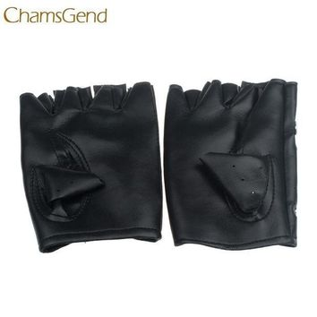 ac PEAPO2Q Good Sale Theatrical Glove Punk Hip-hop PU Black mitten Half-finger Leather Gloves Square Nail Dec 7