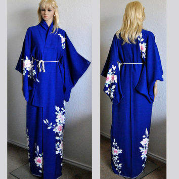 Geisha Of Japan Kimono Silk Robe Authentic Deep Sea Blue Floral Gold Silver Wedding Bridal Cover up Long Sleeves Gown Medieval Costume Asian