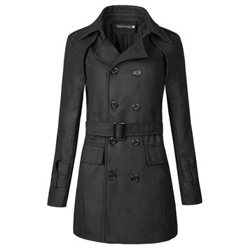 Men Cotton Long Trench Belted Coat
