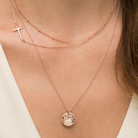 Gorgeous Sequins Cross Pendant Necklace For Women