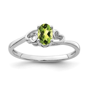 Sterling Silver Genuine Peridot Double Heart August Birthstone Ring