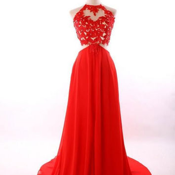 Red Prom Dresses,High Neck Prom Dresses,Long Evening Dress