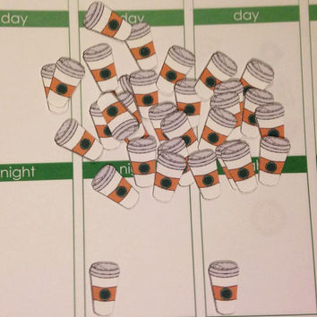 50 Pre-cut Coffee Cup Stickers - Perfect for your planner or scrapbook