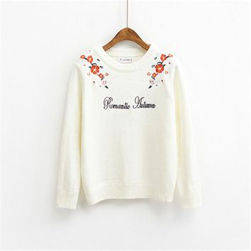 Women Sweaters Korean Embroidery Loose fit