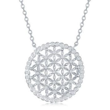Flower of Life Necklace, Clear CZ