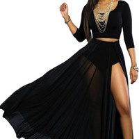 Black Sheer Slit Panty Luxe Maxi Skirt