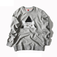 Gray Cat Embroidered Unisex Sweatshirt