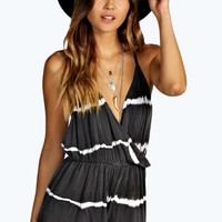 Petite Kaitlin Tie Dye Twist Back Playsuit