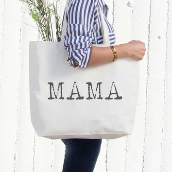Mama Typewriter Canvas Bag Tote Diaper Book Grocery Bag For Mother's Day