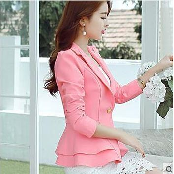 Summer new casual long-sleeved suit jacket female women's Slim short style suit womens Blazers
