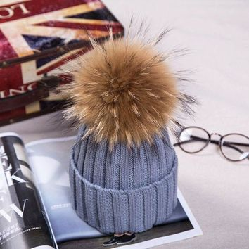 15cm Pom Poms Winter Hat For Women Girl 's Real Raccoon Ball Wool Hats Thick Female Knitted Cotton Beanies Cap