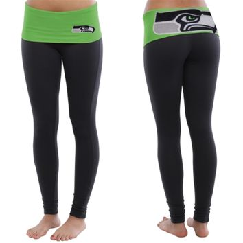 Seattle Seahawks Ladies Sublime Knit Leggings - College Navy/Neon Green