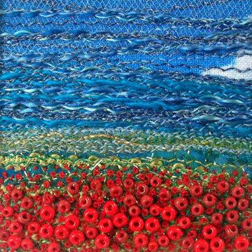 5 inch square card - embroidered poppy field - beaded landscape - handmade beaded fabric card
