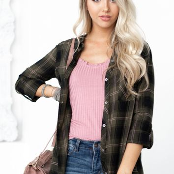 Gina Front Pocket Flannel Top