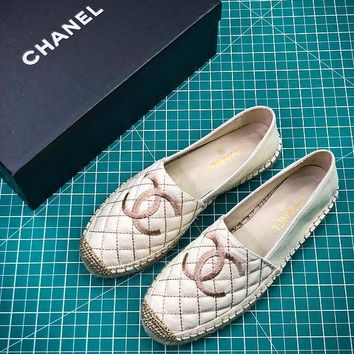 2018 New Chanel Pre Collection Lambskin Grosgrain White Gold Espadrilles - Best Online Sale