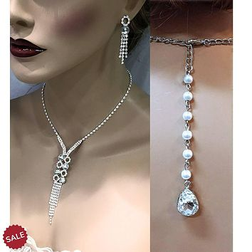 Silver Rhinestone Crystal Bridal Bracelet Necklace Earrings Set