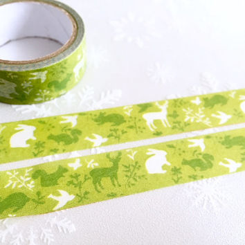 Green forest Washi tape 5M x 1.5cm garden Abstract forest masking tape deer rabbit squirrel bird washi tape rainforest decor sticker tape