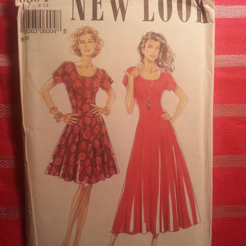 Uncut Simplicity New Look Sewing Pattern, 6004! 8-10-12-14-16-18 Small/Medium/Large/XL/Women's/Misses/Short Sleeve Scoop Neck Flared Dress