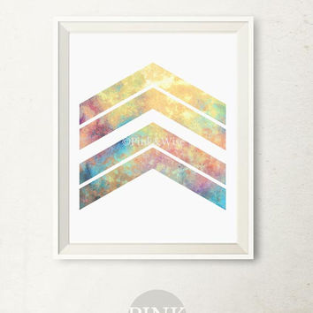 Chevron arrows art print, Printable art wall decor, Geometric art print, Chevron wall art, Geometric wall art, Arrow art, Bedroom wall decor