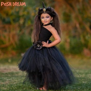 POSH DREAM The Dark Unicorn Inspired Tutu Dress Perfect for Halloween Black Kids Girls Costume for Photograph Kids Girls Clothes