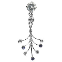 14G 3/8 Clear Gem Curved Barbell with Fanned Gem Dangles