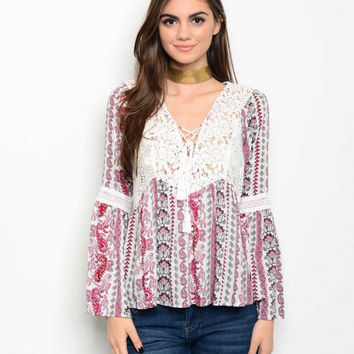 Women Fashion Boho Crochet Bell Sleeve Patterned Ivory Top Blouse Shirt Casual