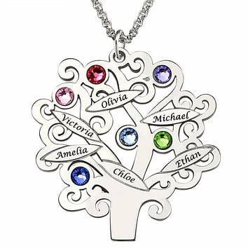 Necklace Family Tree 925 Silver Grandma Gift Children's Name Mother Birthstone Jewelry Favetsy