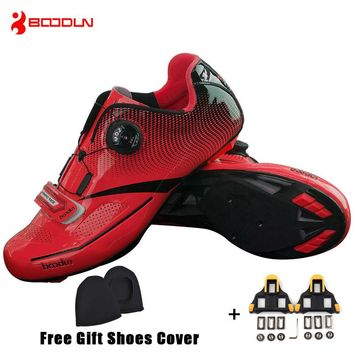Boodun Men Pro Road Cycling Shoes Breathable Bike Shoes Auto-Locking Athletic Racing Bicycle Shoes Sneakers Sapatilha Ciclismo