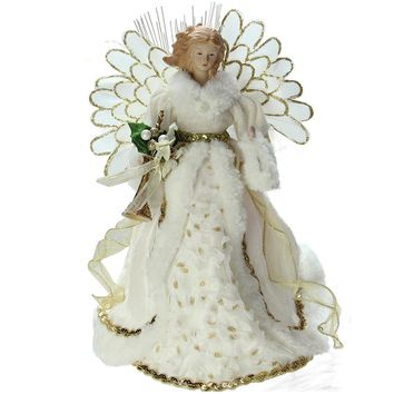"14"" Lighted Fiber Optic Angel in Cream and Gold Gown Christmas Tree Topper"
