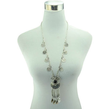 Bohemian Vintage Long Statement Necklace w/ Coin Tassel - 2 Variations