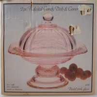 Pink Recollection Pedestal Candy Dish w/Lid  Indiana Glass NOS c 1970-80s Madrid Recollection