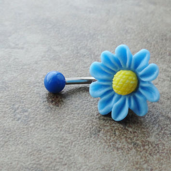 Light Blue Daisy Flower Belly Button Jewelry