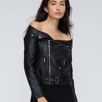 Black Off Shoulder Leather Look Jacket - Choies.com