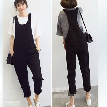Free Shipping 2016 New Plus Size Customized XXXXL All-match Bib Pants Jumpsuit And Rompers Casual Pants Black Cotton Women Pants