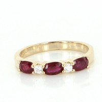 Vintage Ruby Diamond Sz 7 Stack Band Ring 14 Karat Yellow Gold Estate Fine Jewelry