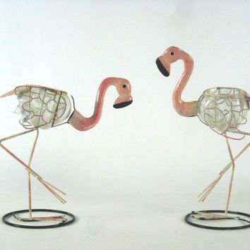 Two Metal Pink Flamingos with Cups, 1970's Kitsch Barware/Bar Accessory
