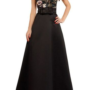 Black Empire Waist Sleeveless Floral Party Gown Dress