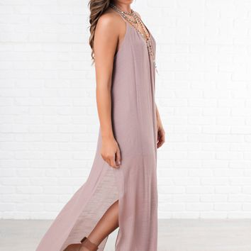 Happy Now Halter Maxi (Mauve)
