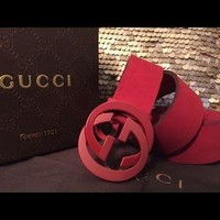 Red suede Gucci interlock belt 30-40 waist men