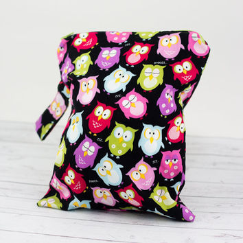 Cloth Diaper Wet Bag, Owls Wet Bag, Wet Swimsuit Bag, Waterproof Zipper Wet Bag, Baby Girl Wet Bag, Wet Bikini Bag, Cloth Diaper Wetbag