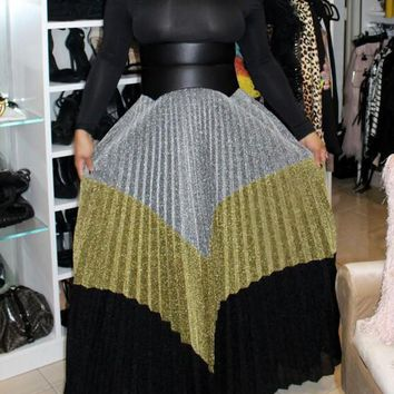 New Silver Striped Pleated Bright Wire Glitter High Waisted Sparkly Elegant Long Skirt