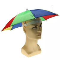 NEW Rainbow Foldable Umbrella Hat Cap Headwear For Outdoor Golf Fishing Camping (Size: One Size)