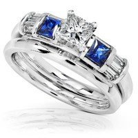 Blue Sapphire & Diamond Wedding Rings Set 3/4 Carat (ctw) In 14k White Gold