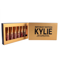 """KYLIE"" Gold Gift Box Women Lipstick Matte Liquid Lip Gloss Lip Glaze 6 Colors Mixed Color Set"