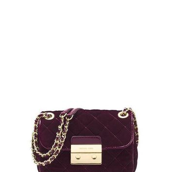 ESBON MICHAEL Michael Kors Sloan Small Quilted Velvet Shoulder Bag - Plum